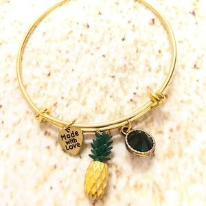 Jewelry - Gold plated pineapple adjustable charm bracelet